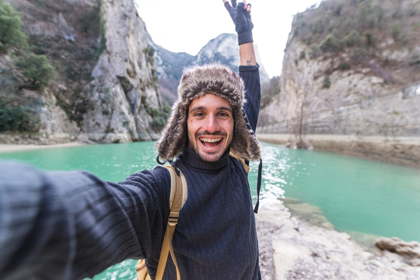 Guy doing selfie in Canada while travelling