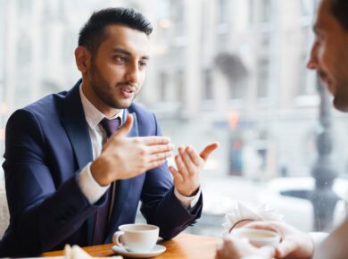 Consultant explaining something to client