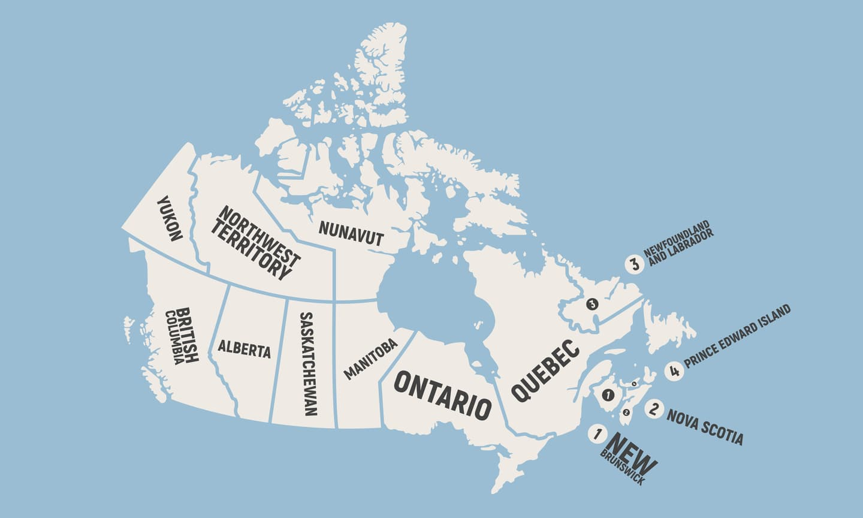 Canadian provinces blue map